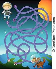 Kid astronaut puzzle game