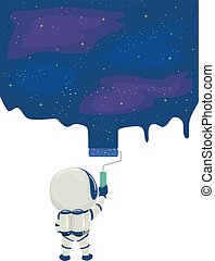 Kid Astronaut Space Wall Paint Illustration