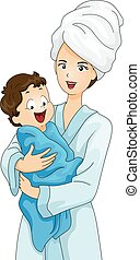 Kid Baby Boy Bath Towel Mom