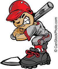 Kid Baseball Batter Holding Bat Vector Image - Fast Pitch...