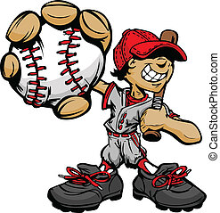 Kid Baseball Player Holding Basebal - Baseball Boy Cartoon...