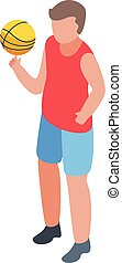 Kid basketball player icon, isometric style