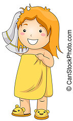Illustration of a Young Girl Who Have Just Come Out of the Shower