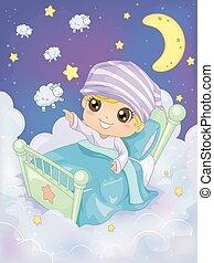Kid Bedtime Count Sheep - Bedtime Illustration of a Kid...