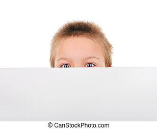 Kid behind the Blank Paper