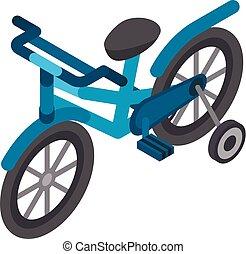 Kid bicycle icon, isometric style