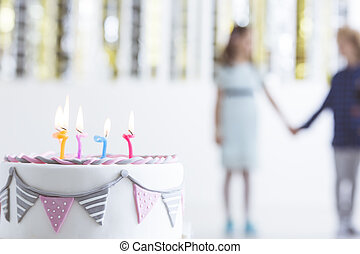 Kid birthday cake with candles