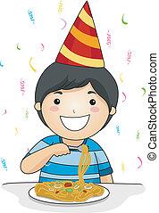 Kid Birthday Noodles - Illustration of a Birthday Celebrant...