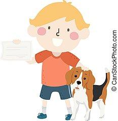 Kid Boy Adopt Dog Papers Illustration