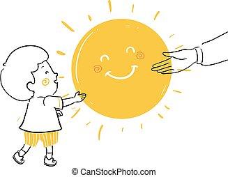 Kid Boy Adult Give Sunshine Illustration