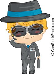 Kid Boy Agent Illustration