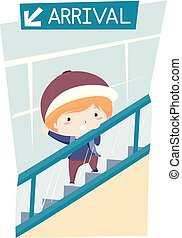 Kid Boy Airport Arrival Escalator Illustration