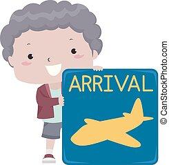Kid Boy Airport Arrival Sign Illustration