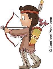 Kid Boy American Indian Bow Arrow Illustration
