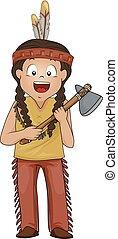 Kid Boy American Indian Stone Ax Illustration