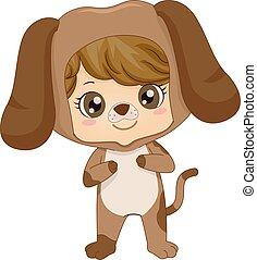 Kid Boy Animal Costume Dog Illustration