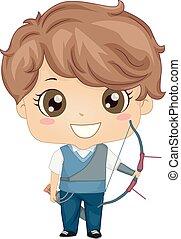 Kid Boy Archery Illustration