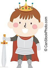 Kid Boy Armored King Illustration