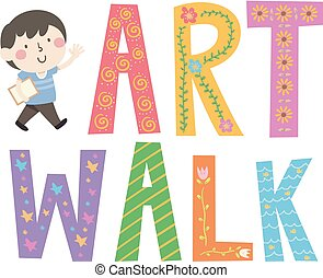 Kid Boy Art Walk Lettering Illustration