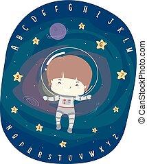 Kid Boy Astronaut Alphabet Numbers Illustration