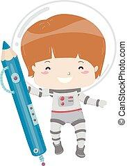 Kid Boy Astronaut Blue Color Pencil Illustration