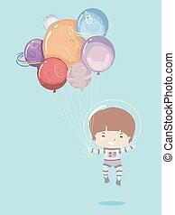 Kid Boy Astronaut Planet Balloons Illustration