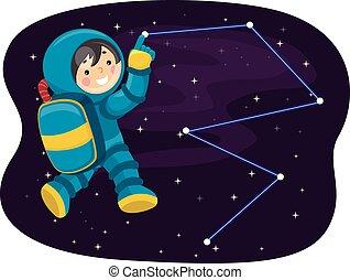 Kid Boy Astronaut Point Stars Constellation