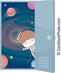 Kid Boy Astronaut Space Door Illustration