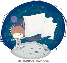 Kid Boy Astronaut Space Flag Illustration