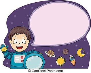 Kid Boy Astronaut Speech Bubble Illustration