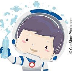 Kid Boy Astronaut Water Gravity Illustration