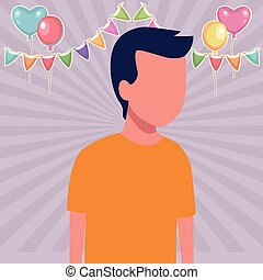 Kid boy avatar cartoon birthdays party