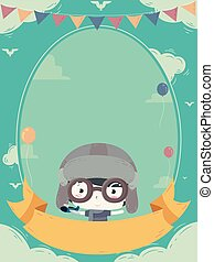 Kid Boy Aviator Birthday Invitation Illustration