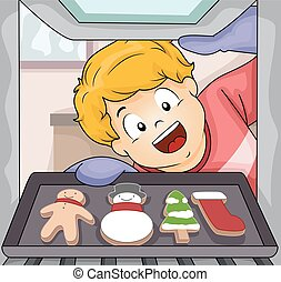 Kid Boy Baking Christmas Cookies - Illustration of a Little...