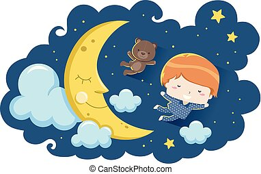 Kid Boy Bear Dream Fly Moon Illustration