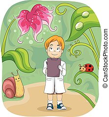 Kid Boy Biology Study Notes - Illustration of a Little...