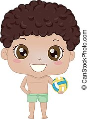 Kid Boy Black Beach Volleyball Illustration