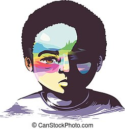 Kid Boy Black Hope in Misery Illustration