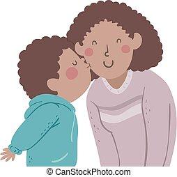 Kid Boy Black Kiss Mom Cheek Illustration
