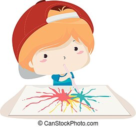 Kid Boy Blow Painting Illustration