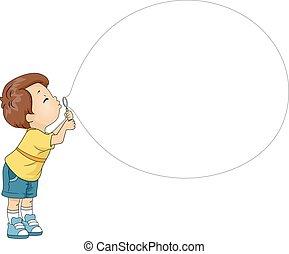 Kid Boy Blowing Bubble Toy - Mascot Illustration of a Boy...