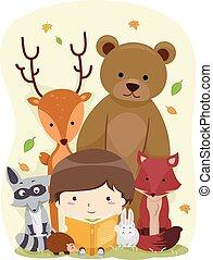 Kid Boy Book Animals Woodland
