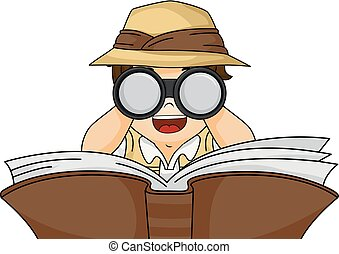 Kid Boy Book Binoculars Illustration