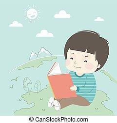 Kid Boy Book Earth Illustration