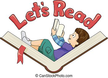 Kid Boy Book Lets Read Illustration