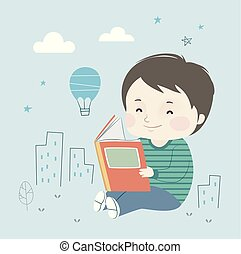 Kid Boy Book Little City Illustration