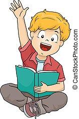 Kid Boy Book Raise Hand - Illustration of a Boy Raising His...