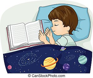 Kid Boy Book Sleeping
