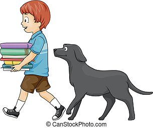 Kid Boy Books Follow Dog