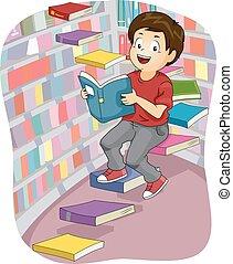 Kid Boy Books Library Steps